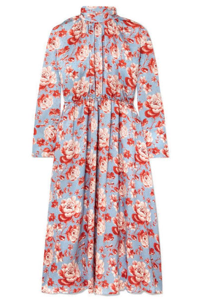 Magda Butrym - Viseu Floral-print Silk-jacquard Midi Dress - Sky blue