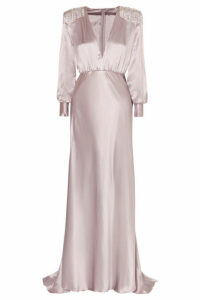Alessandra Rich - Crystal-embellished Silk-satin Gown - Lavender