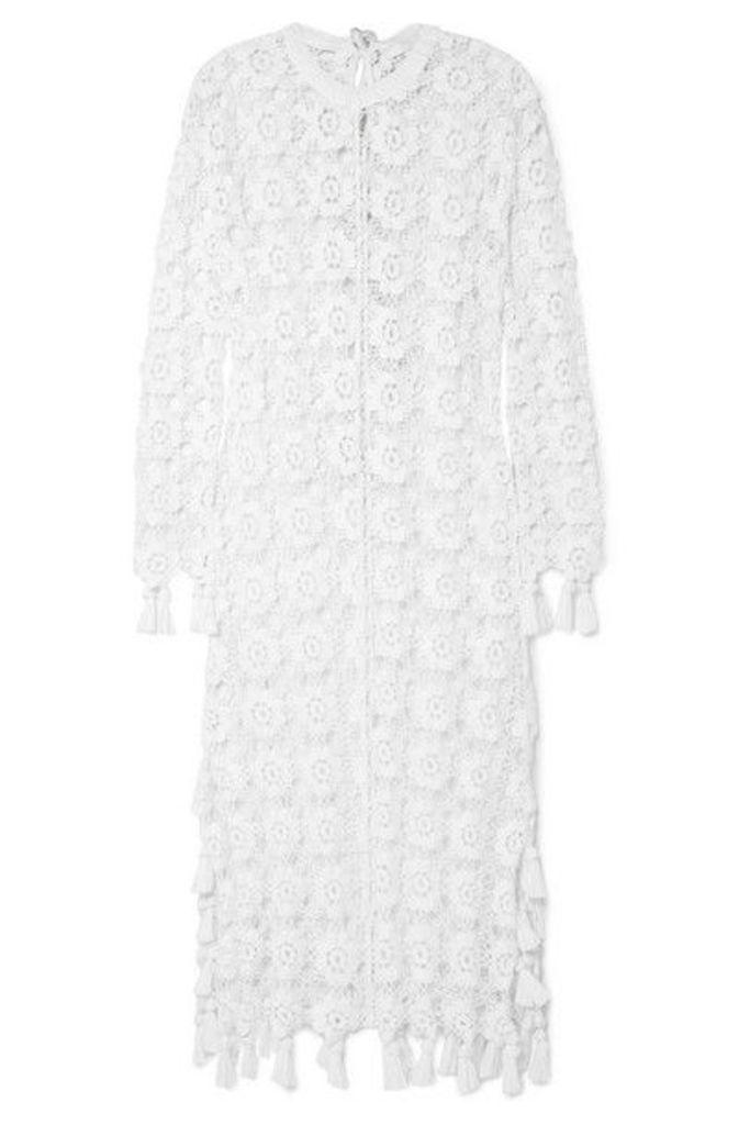Chloé - Fringed Crocheted Cotton-blend Maxi Dress - Ivory