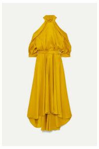 Ralph & Russo - Cold-shoulder Silk-satin Dress - Mustard