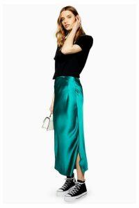 Womens Split Side Satin Bias Midi Skirt - Emerald, Emerald