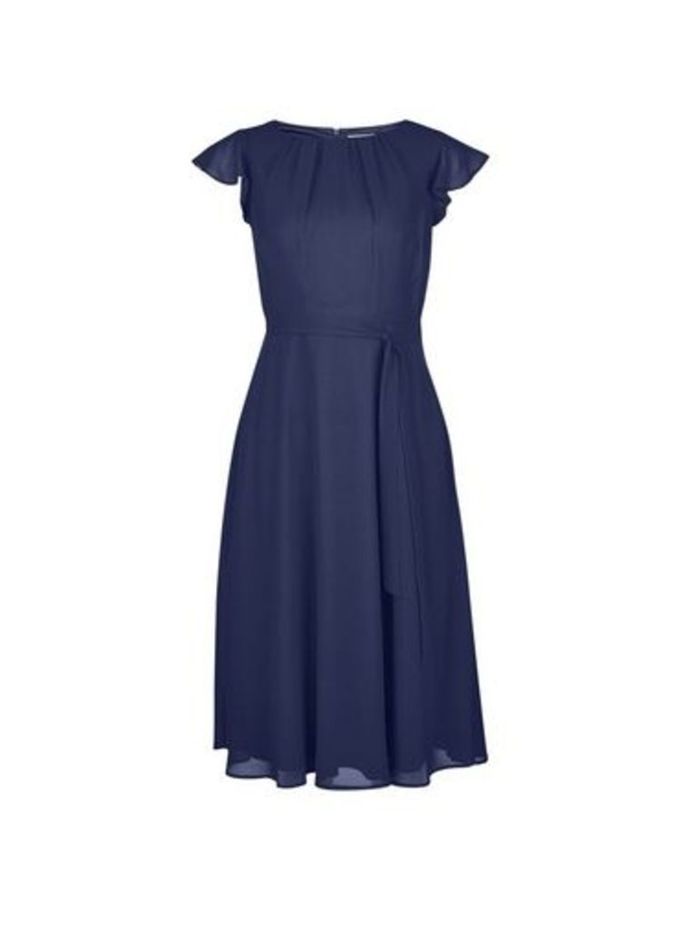 Womens **Billie & Blossom Petite Navy Belted Skater Dress- Blue, Blue
