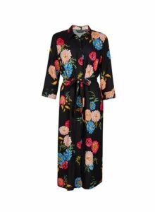 Womens Black Floral Print Midi Shirt Dress- Black, Black