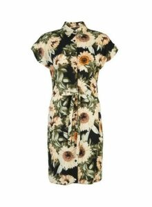 Womens Multi Colour Sunflower Print Shirt Dress- Black, Black