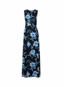 Womens Navy Floral Print Maxi Dress- Blue, Blue