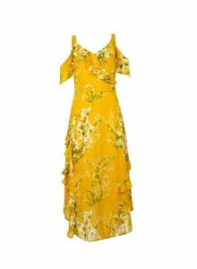Womens Yellow Floral Print Cold Shoulder Maxi Dress- Yellow, Yellow