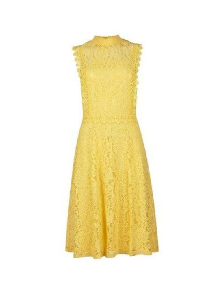 Womens Yellow Shirred Neck Lace Midi Dress- Yellow, Yellow