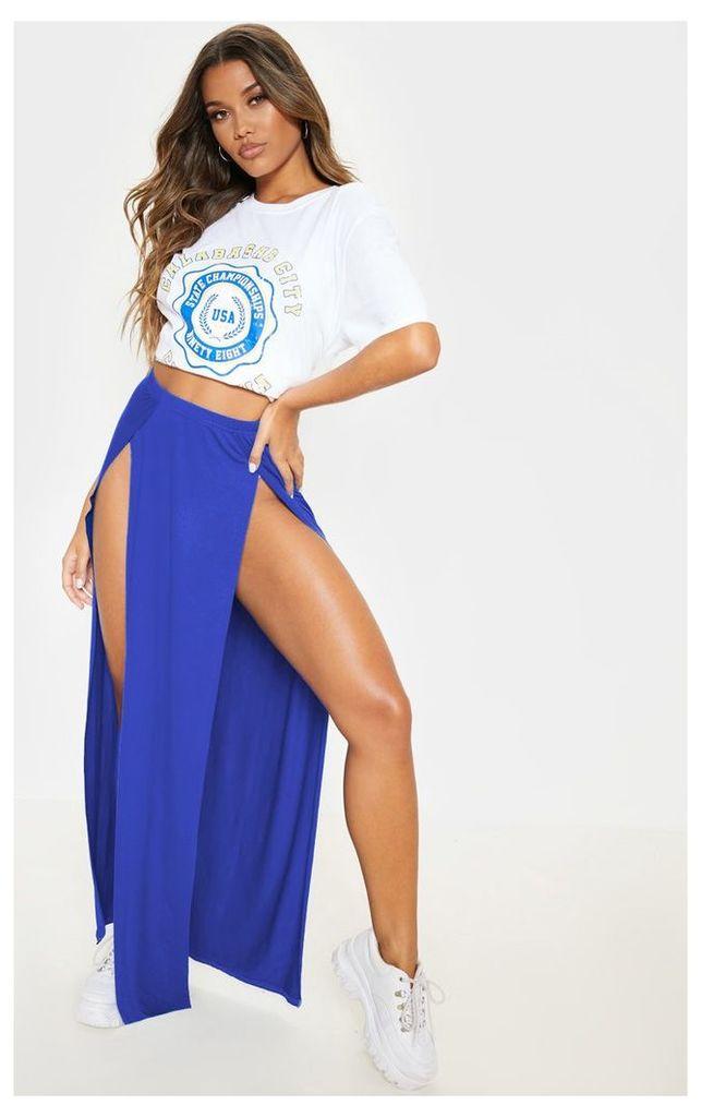 Cobalt Double Split Maxi Skirt, Blue