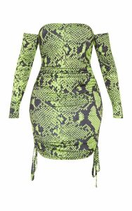 Shape Neon Lime Slinky Snake Print Ruched Side Bodycon Dress, Neon Lime