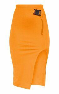 Neon Orange Buckle Detail Side Split Midi Skirt, Neon Orange