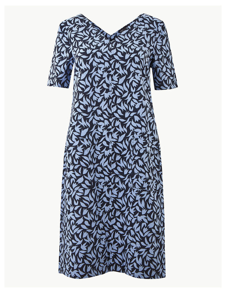 M&S Collection Linen Rich Leaf Print Shift Dress
