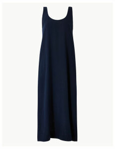 M&S Collection Linen Rich Shift Midi Dress