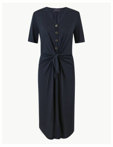 M&S Collection Tie Front Relaxed Midi Dress