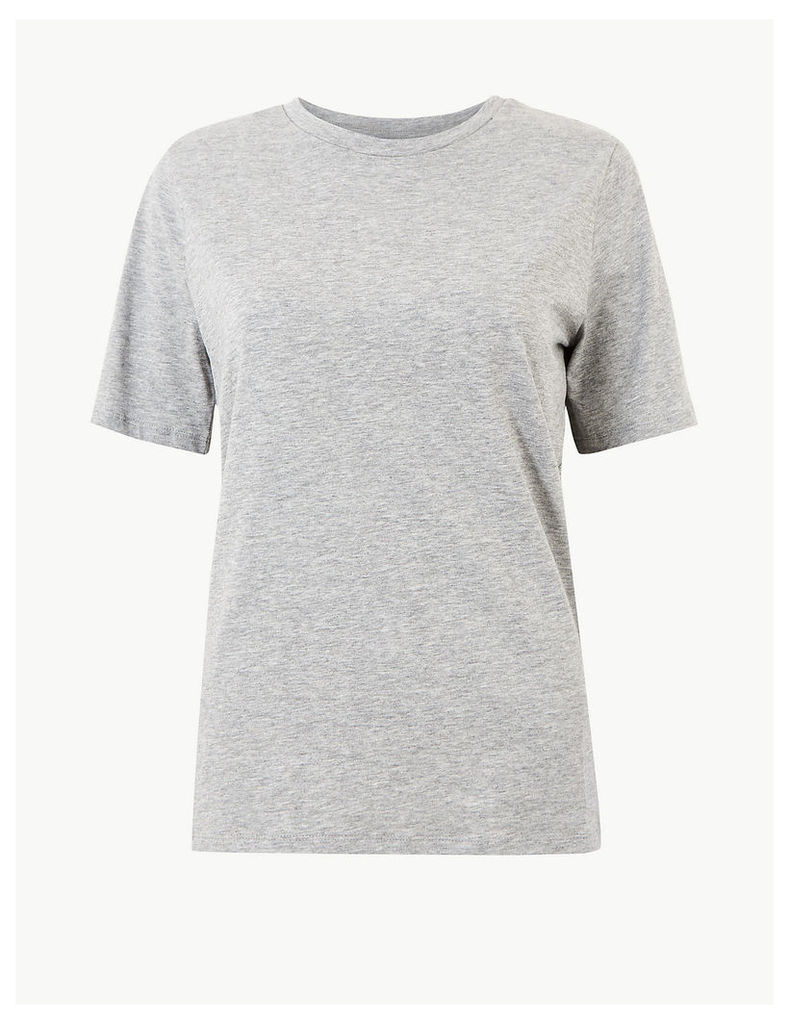 M&S Collection Pure Cotton Round Neck Straight Fit T-Shirt