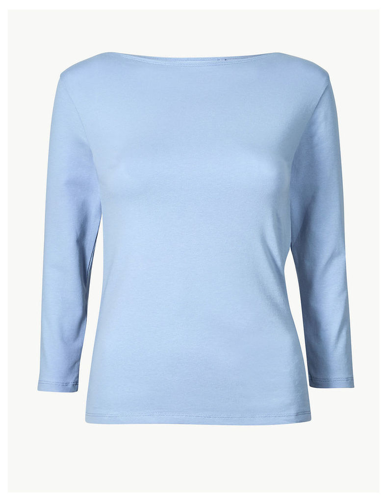 M&S Collection Cotton Rich Slash Neck Fitted T-Shirt