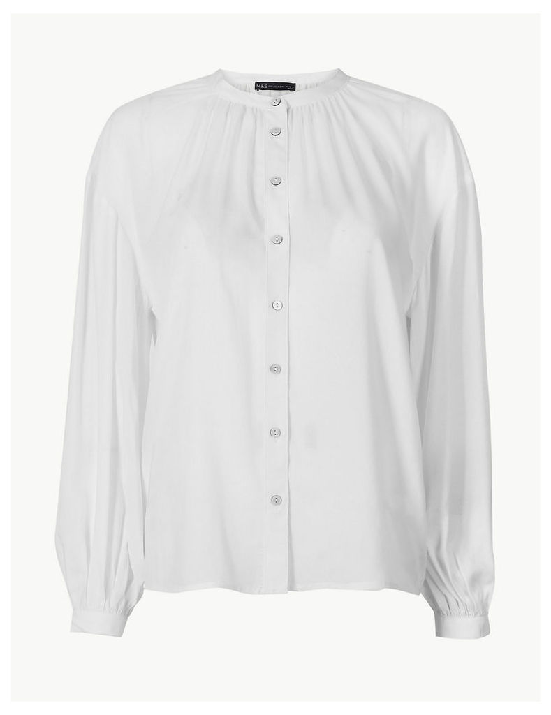 M&S Collection Collarless Long Blouson Sleeve Blouse