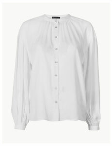 M&S Collection Collarless Blouson Sleeve Blouse