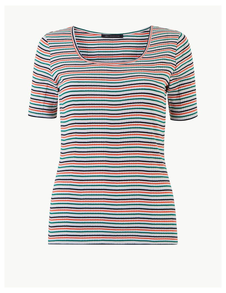 M&S Collection Pure Cotton Striped Short Sleeve T-Shirt