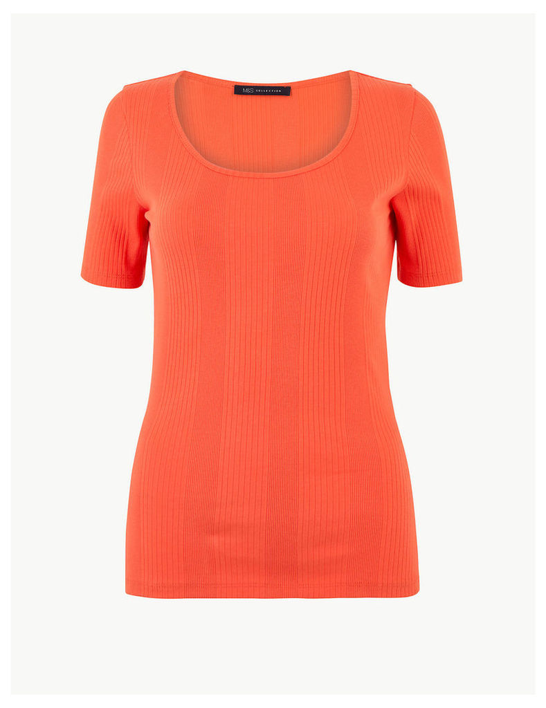 M&S Collection Pure Cotton Textured Short Sleeve T-Shirt