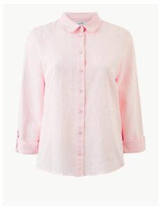 M&S Collection Linen Rich Button Detailed Shirt