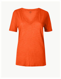M&S Collection Cotton Rich Straight Fit Slub T-Shirt
