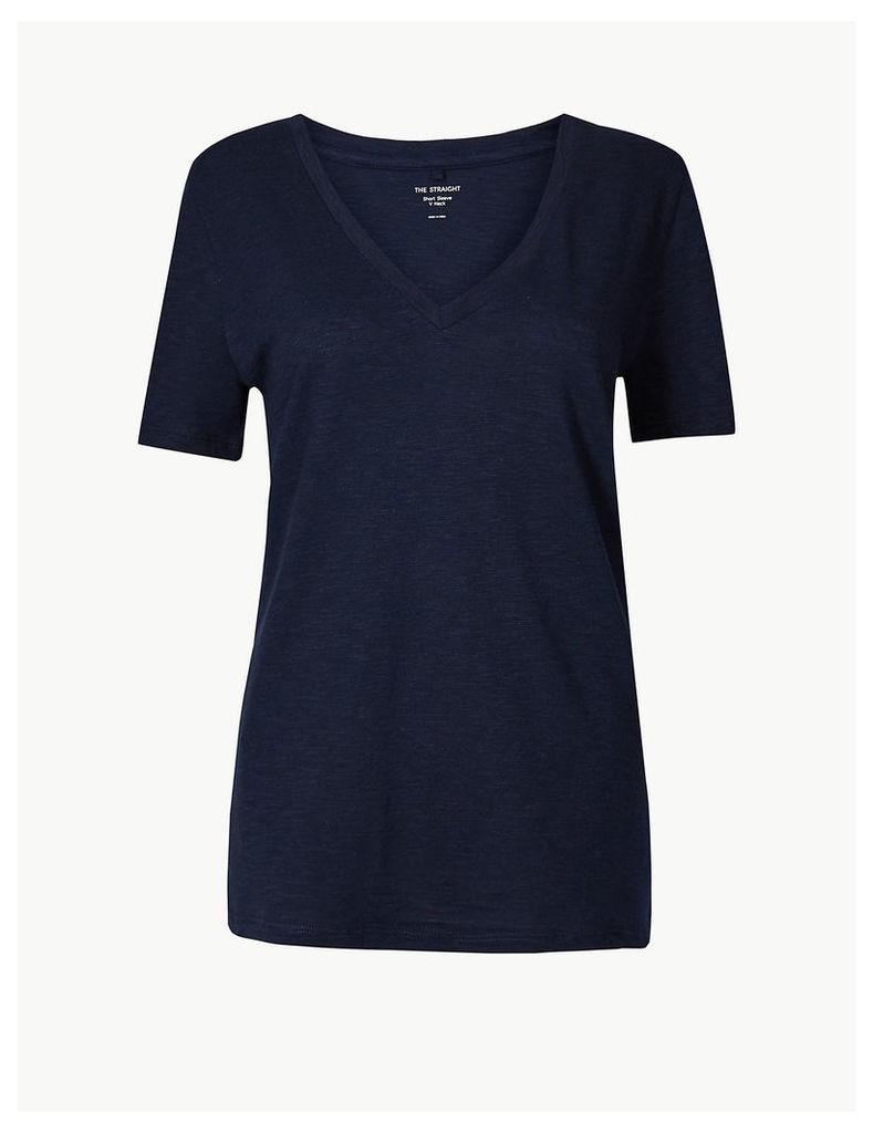 M&S Collection Cotton Rich V-Neck Straight Fit Slub T-Shirt
