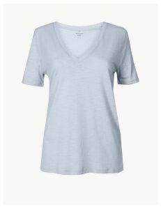 M&S Collection Cotton Rich Straight Fit Slub T-Shirt