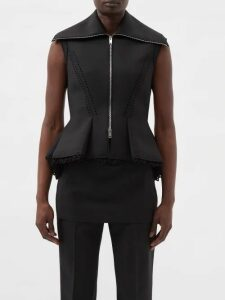 Balenciaga - Layered Cotton Twill Trench Coat - Womens - Navy Multi