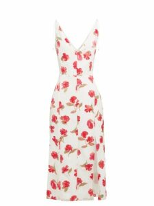 Altuzarra - Ilaria Poppy Devoré Panelled Midi Dress - Womens - White Multi