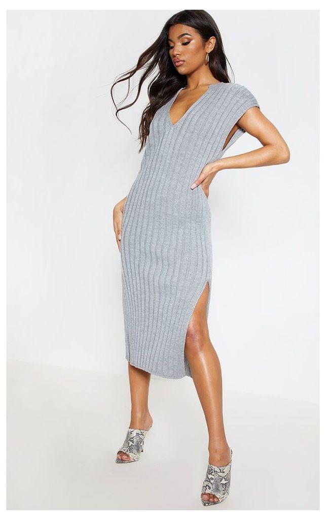 Grey Ribbed V Neck Midi Knitted Dress, Grey