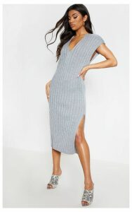 Grey Ribbed V Neck Midi Knitted Dress, Grey