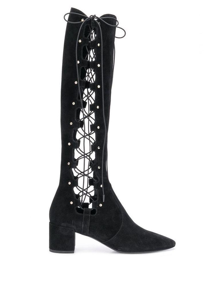 Saint Laurent lace-up side boots - Black