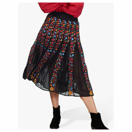 Brora Floral Embroidered Folk Skirt, Black