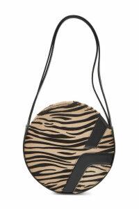 Manu Atelier Lou Round Box Leather Handbag with Calf Hair