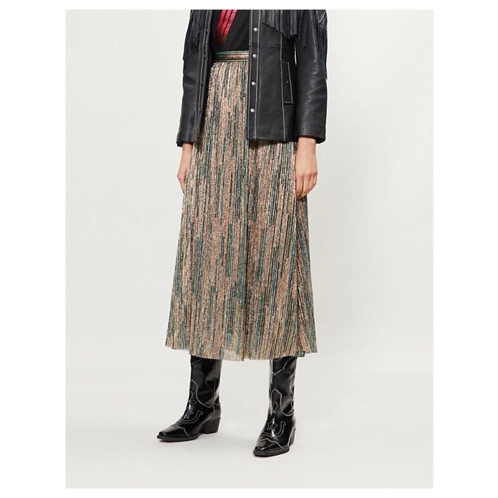 Suzon high-rise metallic midi skirt