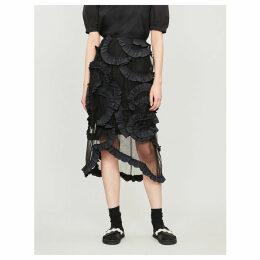 Moncler Genius x Simone Rocha high-waist ruffled tulle midi skirt