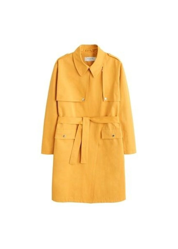 Cotton lapel trench