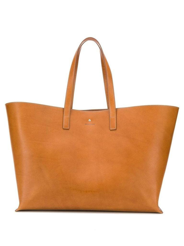 Jil Sander large leather tote bag - Brown