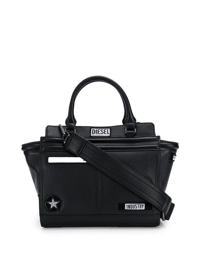 Diesel logo patch satchel bag - Black
