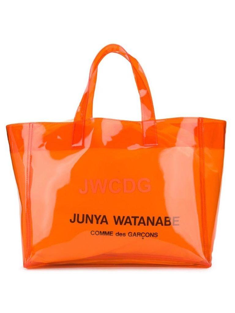 Junya Watanabe large logo print tote - Orange