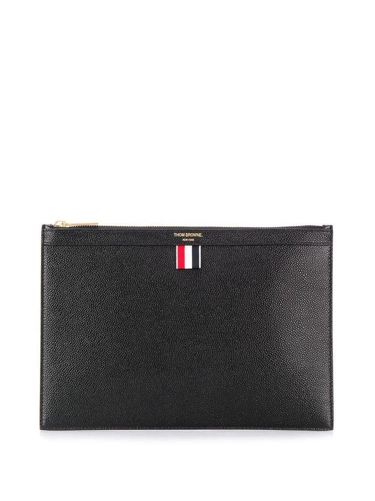 Thom Browne zip top clutch - Black