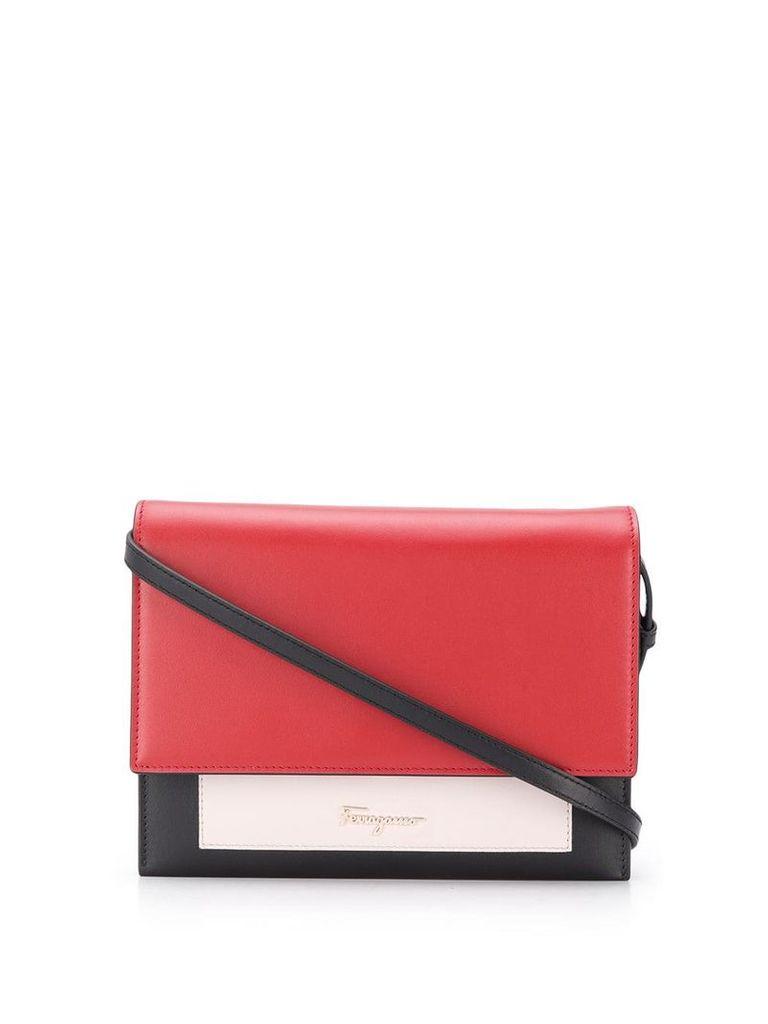 Salvatore Ferragamo contrast foldover crossbody bag - Red