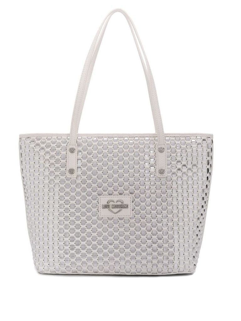Love Moschino silver tote bag