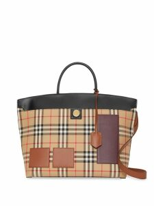 Burberry Vintage Check and Leather Society Top Handle Bag - Neutrals