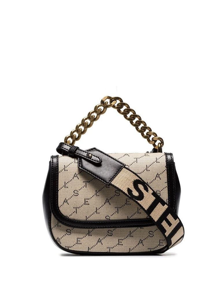 Stella McCartney beige logo-canvas crossbody bag - Neutrals