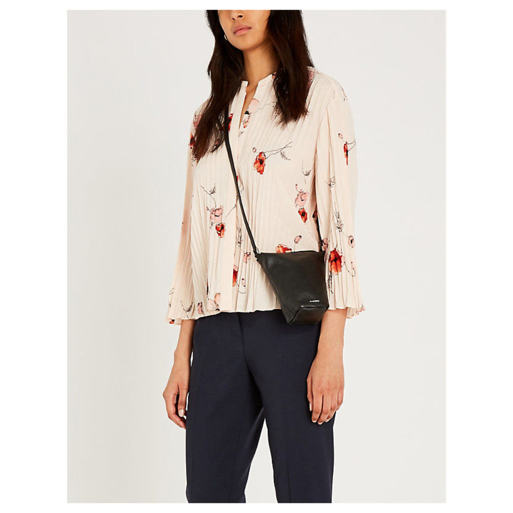 Tossed Poppy print crepe blouse