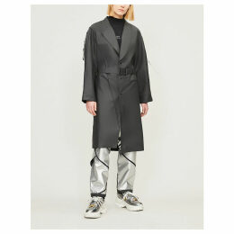Belted waxed-shell trench coat
