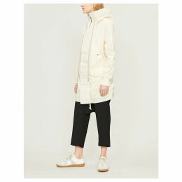 Funnel collar shell hooded coat