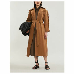 Baccara ruffled-sleeve oversized cotton trench coat