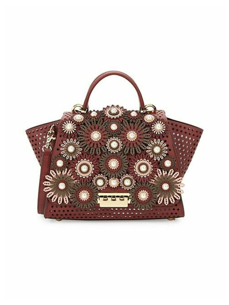 Perforated Leather & Faux-Pearl Floral Handbag